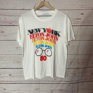 Elton John New York Boyfriend Vintage White Tee